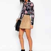 Glamorous Pussybow Blouse in Eastern Floral Print