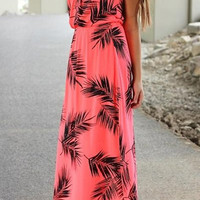 Pink Strapless Leaves Printed Dress