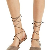 Lace-Up Pointy Toe Flats