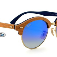 New Ray-Ban RB4246M CLUBROUND WOOD Sunglasses | Brown / Blue Gradient Flash Lens