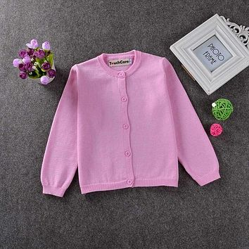 Girl Sweaters Kid Outerwear Cardigan Casual Solid Boy Clothes Western Style Knit Children's Sweater
