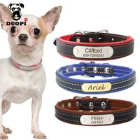 Duopi Soft Leather Personalized Solid Dog Collars Custom DIY Cat Puppy Pet Name ID Collar Free Engraving for Small Medium Dogs