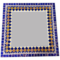 Navy Blue and Gold Mosaic Wall Mirror