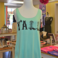 Y'all Tank - Mint/Black