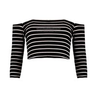 Andrea Striped Off The Shoulder Rib Crop Top | Boohoo