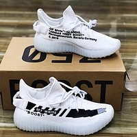 ADIDAS x Off White Yeezy Boost 350 V2 Trending Woman Men Sport Sneakers Shoes White