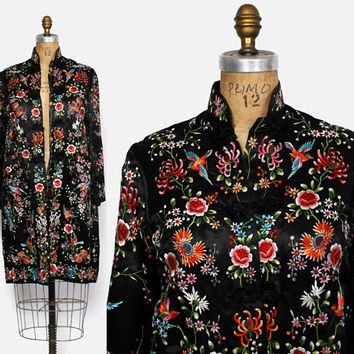 Vintage 60s Embroidered Silk Jacket / 1960s Colorful Embroidered Black Chinese Silk Duster Robe