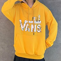 Vans Autumn And Winter Fashion New Letter Print Hooded Long Sleeve Sweater Yellow