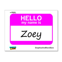 Zoey Hello My Name Is Sticker