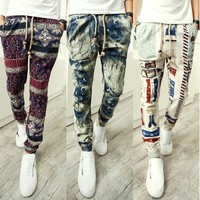 New Spring Men's Fashion Printed Harem Pants Hip Hop Men Cuff Bottom Drop Crotch Casual Pants Night Club Trousers For Men