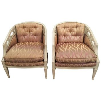 Pre-owned Mid-Century Ivory Club Chairs - Graphic Upholstery