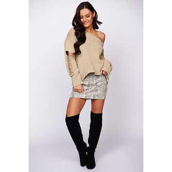 Don't Make Me Wait Distressed Chenille Sweater (Taupe)
