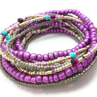 Seed bead wrap stretch bracelets, stacking, beaded, boho anklet, bohemian, stretchy stackable multi strand purple grey silver red agate gold