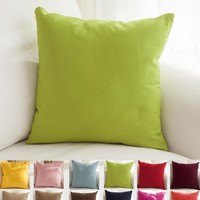"TangDepot Cotton Solid Throw Pillow Cover Apple green 12"" x 18"""