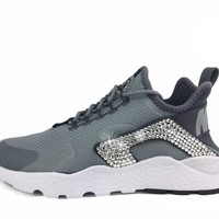 CLEARANCE - Nike Air Huarache + Hand Customized Swarovski Crystals (Side) - Grey sizes 7 and 7.5