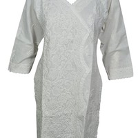 Mogul Interior Womans Tunic Floral Hand Embroidered Handcrafted Cotton Ethnic Summer Indian White Dress