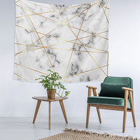 Geometric Marble Creamy Agate Marble Wall Art College Apartment Unique Dorm Room Decor Trendy Wall Tapestry