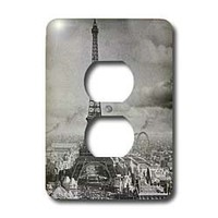 3dRose LLC lsp_6793_6 Eiffel Tower Paris France 1889 Black and White, 2 Plug Outlet Cover