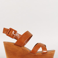 Bamboo Ankle Strap Platform Peep Toe Wedge