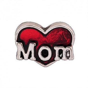 Floating Mom Heart Charm Compatible With Origami Owl Lockets