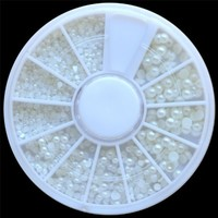 DragonPad White Pearl Nail Art Stone Different Size Wheel Rhinestones Beads