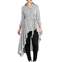 Gray Striped Lapel Shirt High Low Belted Blouse Top