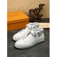 LV Louis Vuitton Men's Leather Mid Top Sneakers Shoes