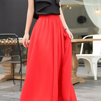 Red Chiffon Maxi Skirt