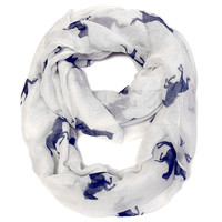 Galloping Horse Infinity Scarf - White