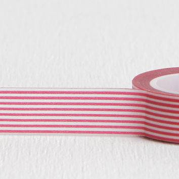 Horizontal White and Red Stripe Washi Tape, Great for All Occasion and Holiday Wrapping, 15mm x 10m