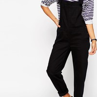 ASOS Denim Overall With Tie Straps in Black