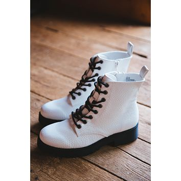 Lotus Lace Up Combat Boot, White | Coconuts by Matisse