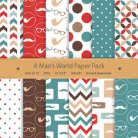 Gentleman digital paper Hipster paper Fathers Day Grandpa Mustache baby boy digital scrapbook paper red and blue digital paper brown & blue