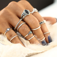 12pcs / sets Fashion Vintage Punk Midi Rings Set Antique Gold Color Boho Style Female Charms Jewelry Ring For Women 0527