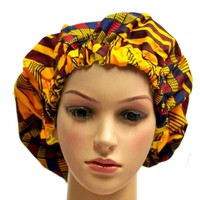Elegant yellow Women's African Inspired Silk Hair Bonnet