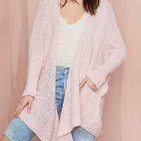 Pink Long Sleeve Asymmetrical Hem Cardigan