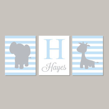 Elephant Nursery Art, Zoo Animal Nursery, Jungle Animals, Boy Nursery Decor, Boy Nursery Prints, Baby Blue Gray, Set of 3 Prints Or Canvas