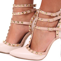 Matte Ivory Pump with Tan Studded Straps