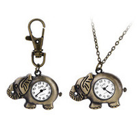New Fashionable Creative Vintage Elephant Bats Quartz Watches Pocket Watch Key Ring Necklace Gift BS88