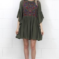 Full of Joy Floral Embroidery Dress {Olive}