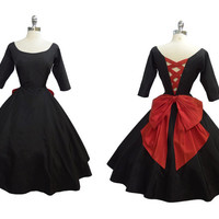 Vintage 1950s Black and Lipstick Red Taffeta Corset Back Bombshell Cocktail Party Dress S