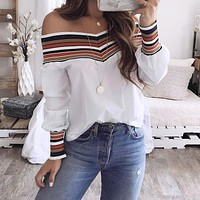 2020 autumn fashion off-shoulder printed knitted stitching top shirt