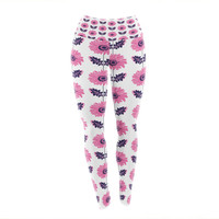 "Laura Escalante ""Pink Gerbera"" Purple Flower Yoga Leggings"