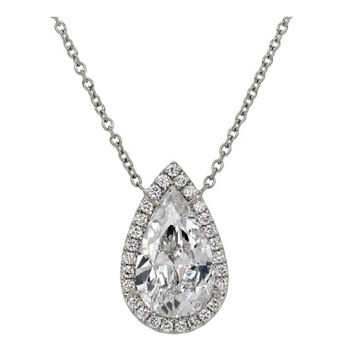 Timeless 3 carat E/VS2 Pear-Shaped Diamond Necklace