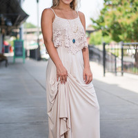 Peaceful Petals Maxi Dress, Cream