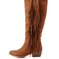 Cognac Flat Fringe Knee-High Boots by Charlotte Russe