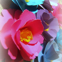 Set of 20 large handmade hot pink blue periwinkle purple and lilac flower paper peonie peony primrose roses