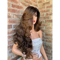 Brown Balayage Honey Lace Hair Wig | Invisible Side Parting | Faith 0519 4