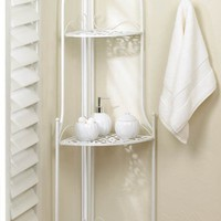 Lace Design White Metal Corner Display Shelf