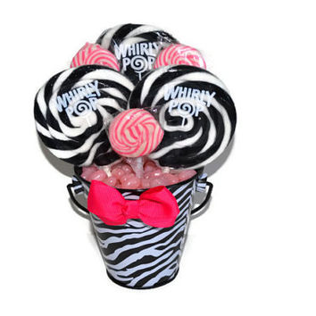 Small Zebra/Pink Theme Lollipop Centerpiece